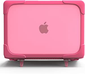 MacBook Pro 13 inch with Touch Bar Case with Kickstand, DMaos Crystal Shell Armor Bumper Sleeve Reinforced Corner Shock Absorption Antiskid, Premium for Mac Model A1706 A1708 A1989 - Pink