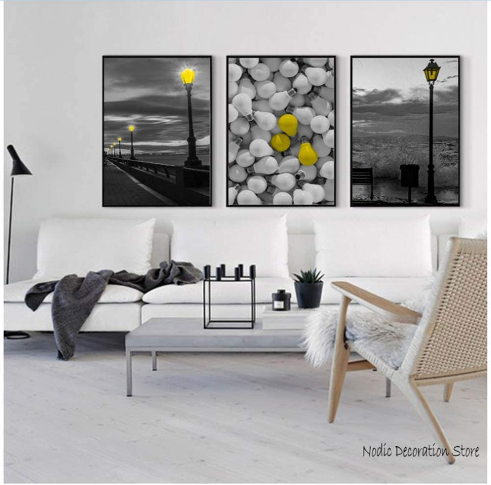 RuiChuangKeJi Cuadros de Pared Póster Cuadro Amarillo y Gris Cuadro nórdico de luz Negra Jadeo Abstracto para Sala de Estar Amarillo 3x40x60cm (15.7