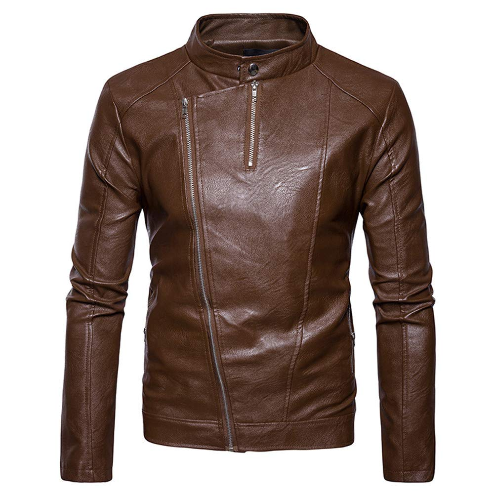Clearance Forthery Men's Pu Leather Jacket Zip Up Stand Collar Coat Outwear(Khaki, US Size XL = Tag 2XL)