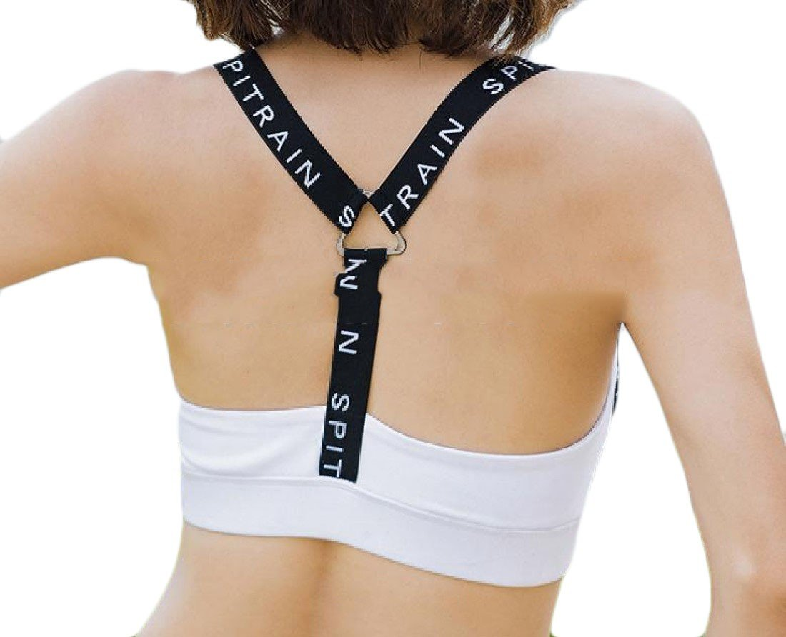 Comfy Women Gym Fit Vogue Plus Size Shockproof Breathable Freedom Sport Bra White S