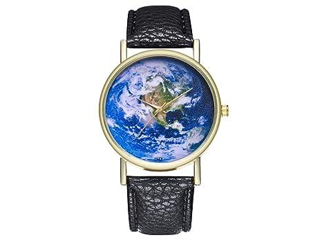 HOUHOUNNPO Reloj de Moda con diseño de Planeta Azul, de Piel, Estilo clásico,
