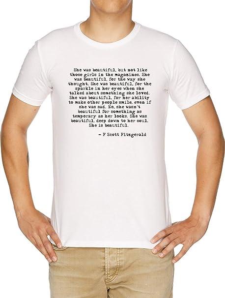 5a461b21 She Was Beautiful - Fitzgerald Quote - F Scott Fitzgerald T-Shirt Uomo  Bianco: Amazon.it: Abbigliamento