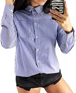 Chemise À Manches Longues en Mousseline De Soie À Rayures pour Femmes Blouse Pullover Shirt Tops S-3XL