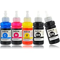 Kingjet Refillable Bottle Inks Replacement for Epson 70ml T664 (T6641 T6642 T6643 T6644) Multipack for Epson Eco Tank L310 L355 L365 L455 L555 L565 L110 L130 L210 L220 (2xBlack,1xCyan/Magenta/Yellow)