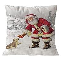 99native Série de Noël Taie d'oreiller du Père Noël,Coton Doux en Lin Couvre-Lit Taie d'oreiller Canap¨¦ Voiture Housse de Coussin Home Decor Lit 45 cm x 45 cm