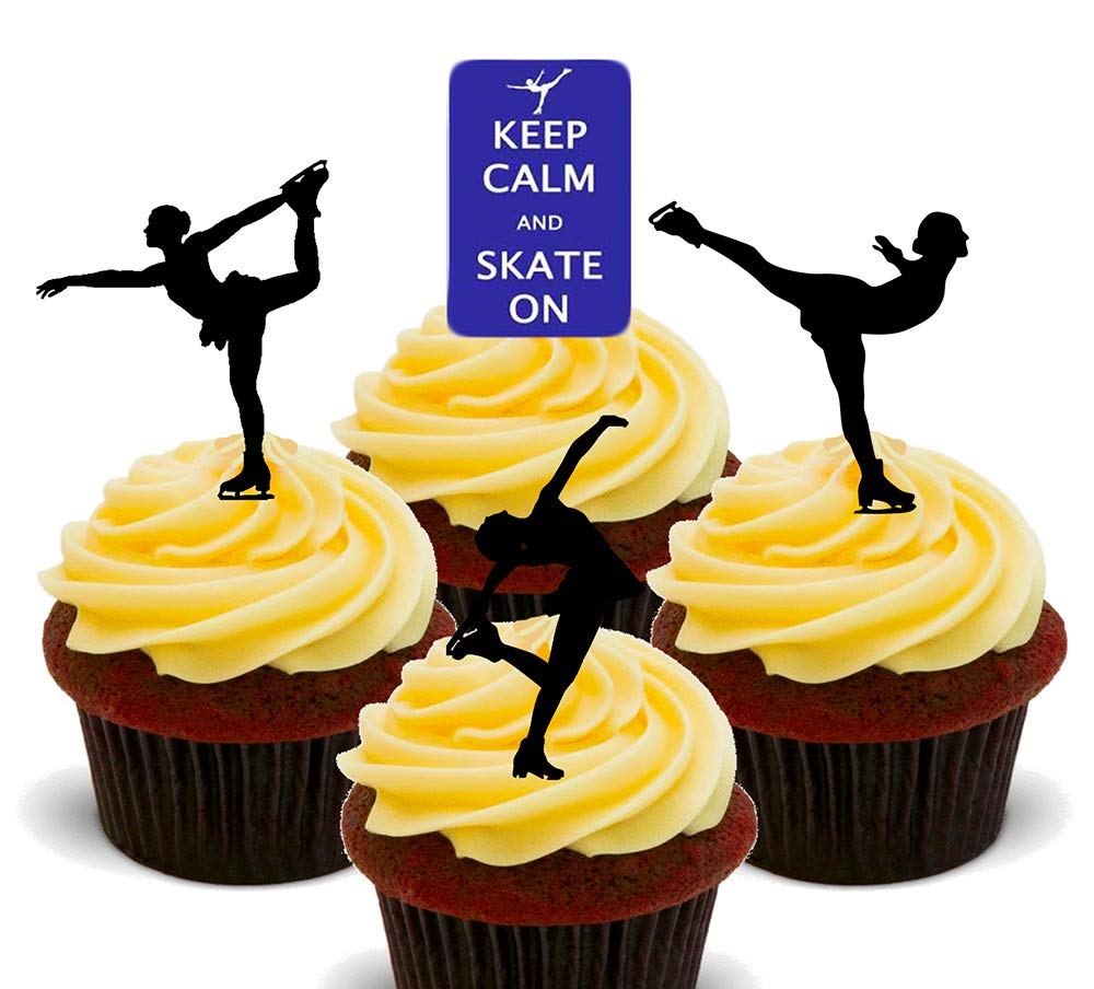 12 Keep Calm Ice Skating Silhouette Mix EDIBLE  CAKE TOPPERS STAND UPS Birthday