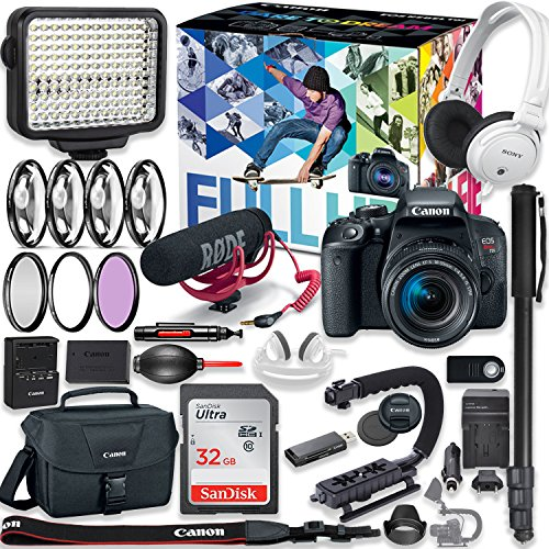 Canon EOS Rebel T7i DSLR Camera Premium Video Creator Kit with Canon 18-55mm Lens + Sony Monitor Series Headphones + Video LED Light + 32gb Memory + Monopod + High End Accessory Bundle