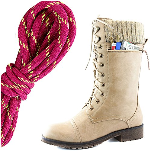 DailyShoes Womens Combat Style Lace up Ankle Bootie Round Toe Military Knit Credit Card Knife Money Wallet Pocket Boots, Hot Pink Lime Beige Pu