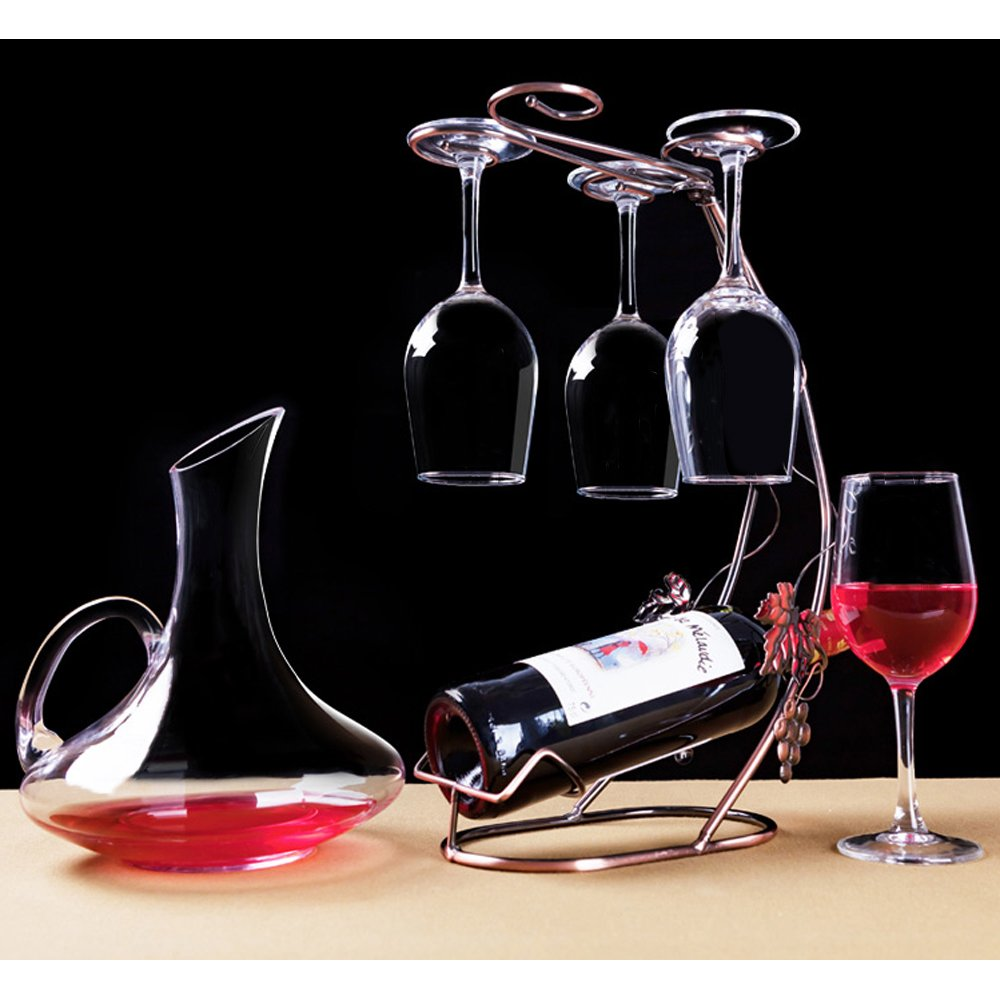Autoark Wine Decanter With Handle,100% Hand Blown Non-Leaded Crystal Carafe,Free Cleaning Brush,AWD-002