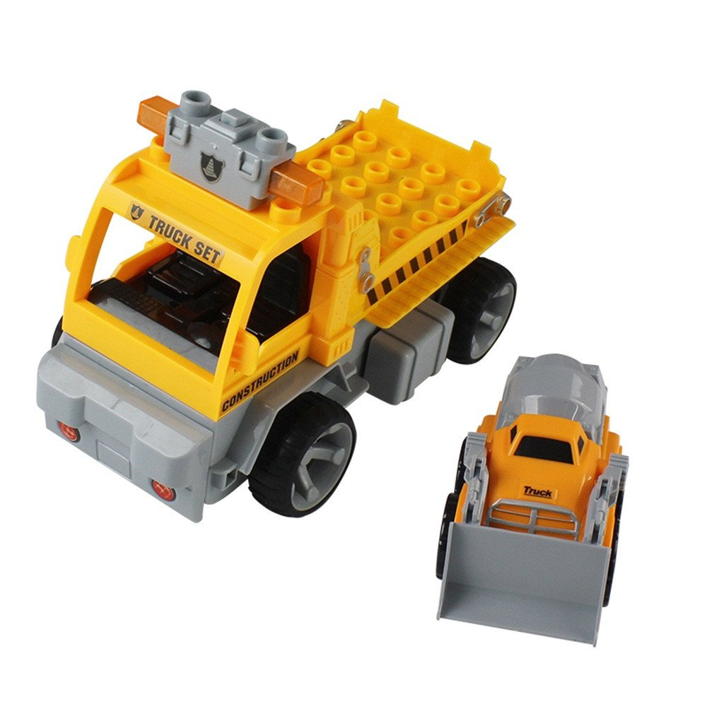 Gbell 1:18 Car Large Building Block RC Trailer,3D Vehicle Puzzle Educational Toy for Kids Boys 8+ (Yellow) by Gbell (Image #6)