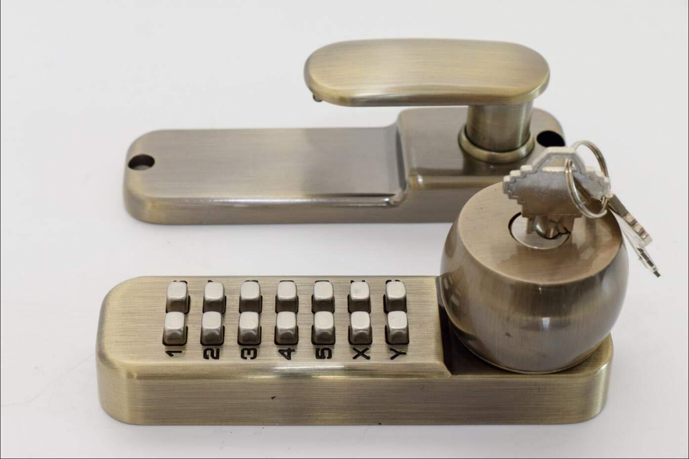 All-Weather Mechanical Keyless Deadbolt Door Lock - Antique Brass