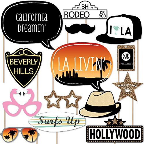 Big Dot of Happiness LA Livin' - Hollywood California Party Booth Props Kit - 20 - Photo Hollywood Props