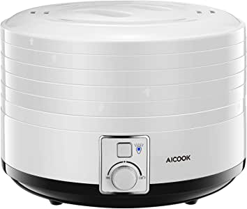 Dehydrator, AICOOK 5 BPA-Free Trays Food Dehydrator Machine with Temperature Control, For Beef, Jerky, Fruit, Herb, Dog Treats, White