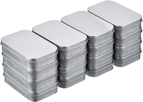 16pcs(88*60*18mm) Latas Metal de Bisagra Caja Contenedor Almacenamiento Rectangular Color Plateado Mini Estuche Kit de Almacenaje Pequeño Organizador: Amazon.es: Hogar