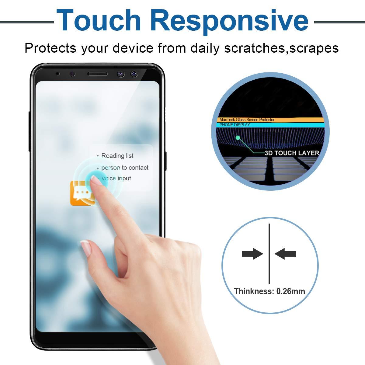 NONZERS Protector de Pantalla para Samsung Galaxy A8 2018,[2 Unidades] Cristal Templado Galaxy A8 2018,Premium HD Vidrio Templado,Anti-Rasguños,Negro: ...