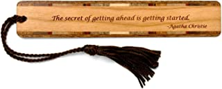 product image for Personalized Agatha Christie Getting Ahead Quote On Handmade Wooden Bookmark with Tassel - Search B07JH53SY4 for Non Personalized Version