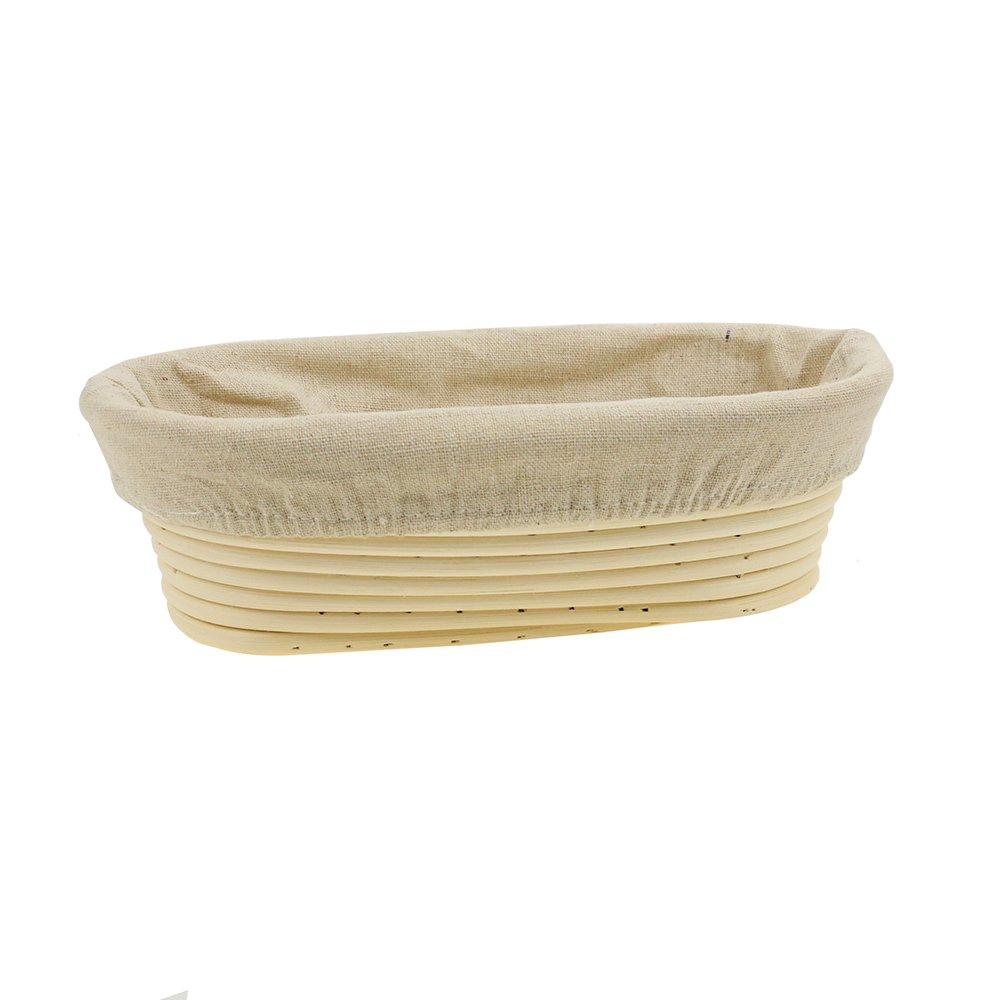 Saftybay Banneton Bread Dough Proofing Rising Rattan Basket / Oval Prooving Brotform Set Dough Box (9 inch)