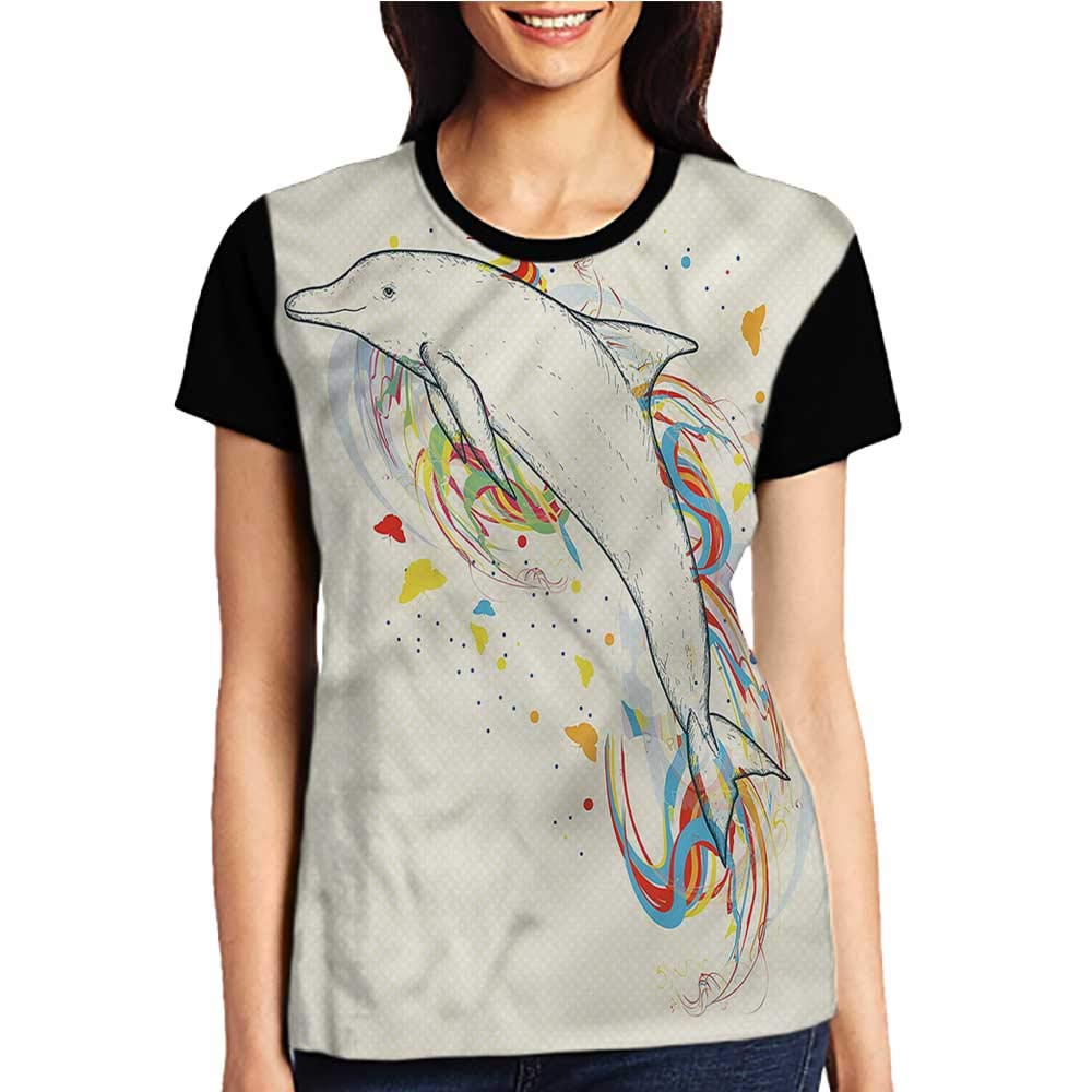 Women T Shirt,Modern,Coral Reef with Pearl Shell S-XXL Woman Baseball Tops