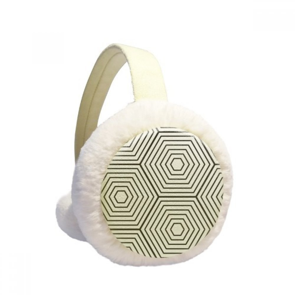 Hexagon Line Art Grain Illustration Pattern Winter Earmuffs Ear Warmers Faux Fur Foldable Plush Outdoor Gift