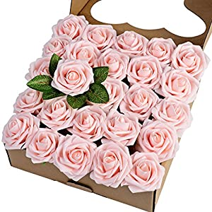 Breeze Talk Artificial Flowers Blush Roses 25pcs Realistic Fake Roses w/Stem for DIY Wedding Bouquets Centerpieces Arrangements Party Baby Shower Home Decorations (25pcs Blush) 30