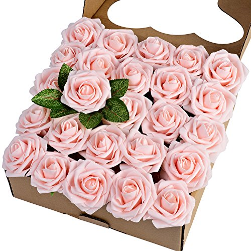 (Breeze Talk Artificial Flowers Blush Roses 25pcs Realistic Fake Roses w/Stem for DIY Wedding Bouquets Centerpieces Arrangements Party Baby Shower Home Decorations (25pcs)