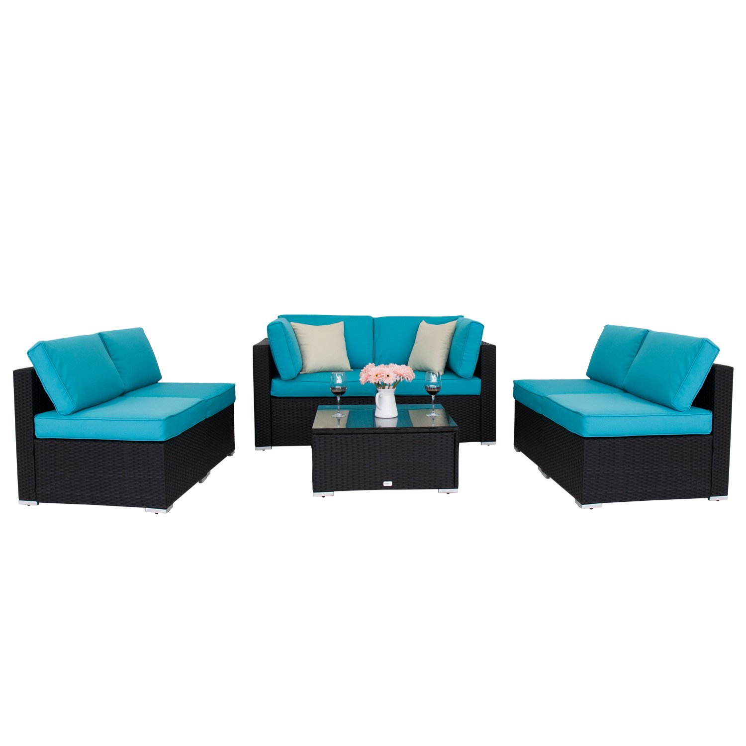 Peach Tree 7 PCs Outdoor Patio PE Rattan Wicker Sofa Sectional Furniture Set With 2 Pillows and Tea Table by Peachtree Press Inc (Image #6)