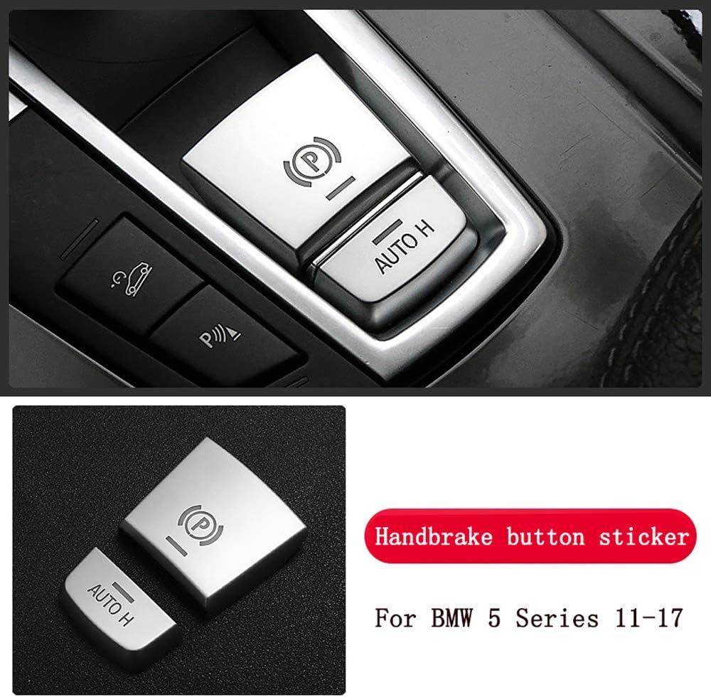 L/&U Chrome ABS Car interior Buttons Sequins Decoration Cover Trim Decals for BMW 5 series f10 520 525 528 530 11-17,Silver,Handbrakebutton