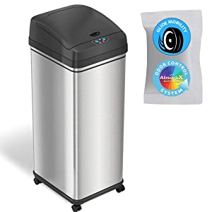 iTouchless Glide 13 Gallon Pet-Proof Sensor Trash Can with Wheels and Odor Control System, Stainless Steel, Kitchen Garbage Bin Prevents Dogs or Cats Getting in (Battery or Optional AC Adapter Power)