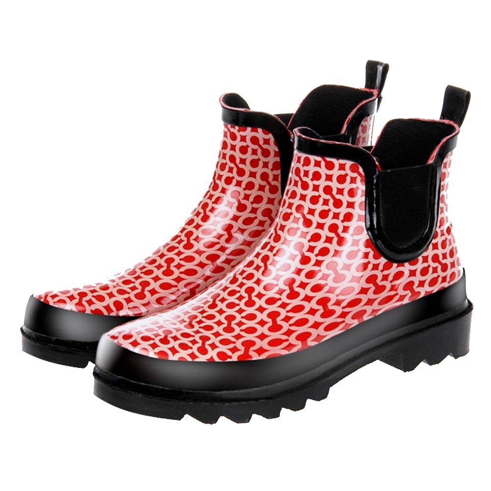 NAN Las botas de lluvia de las mujeres hermosas botas cortas zapatos de jardín zapatos de agua botas de lluvia del círculo de la manera ( Color : Rojo , Tamaño : EU39/UK6.5/CN40 ) Rojo
