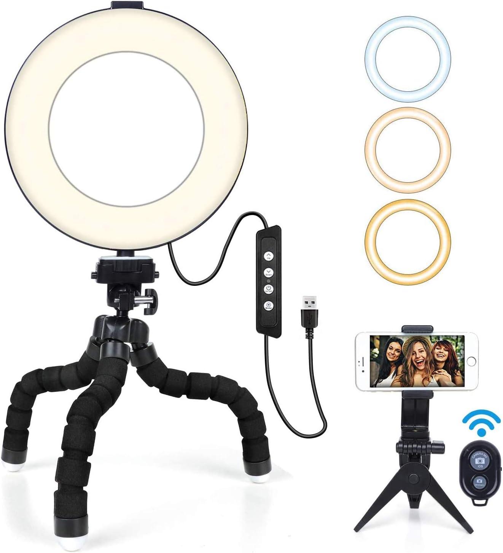 """Aro de Luz 6"""" MACTREM Anillo de Luz LED para Fotografía Maquillaje con Tripode Pulpo,Soporte para Teléfono Móvil y Control Remoto Bluetooth para Selfie, Video Youtube, Grabación de Vlog"""