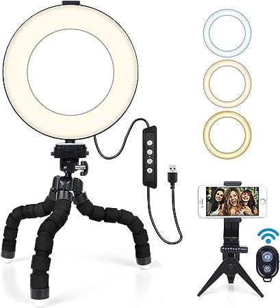 """Todo para el streamer: Aro de Luz 6"""" MACTREM Anillo de Luz LED para Fotografía Maquillaje con Tripode Pulpo,Soporte para Teléfono Móvil y Control Remoto Bluetooth para Selfie, Video Youtube, Grabación de Vlog"""