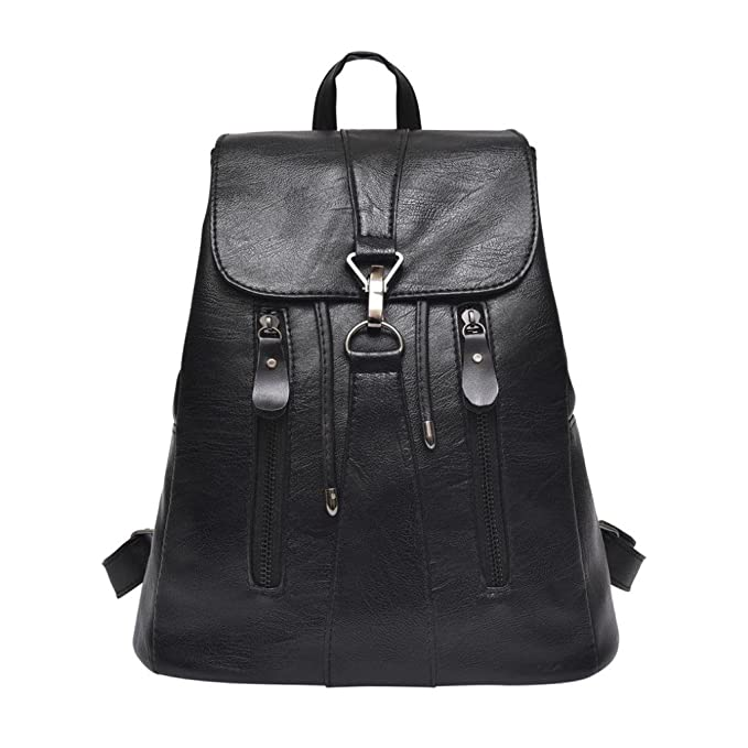 LtrottedJ Woman Fashion Leather Backpack Female Mochila Large Capacity School Bag (Black)
