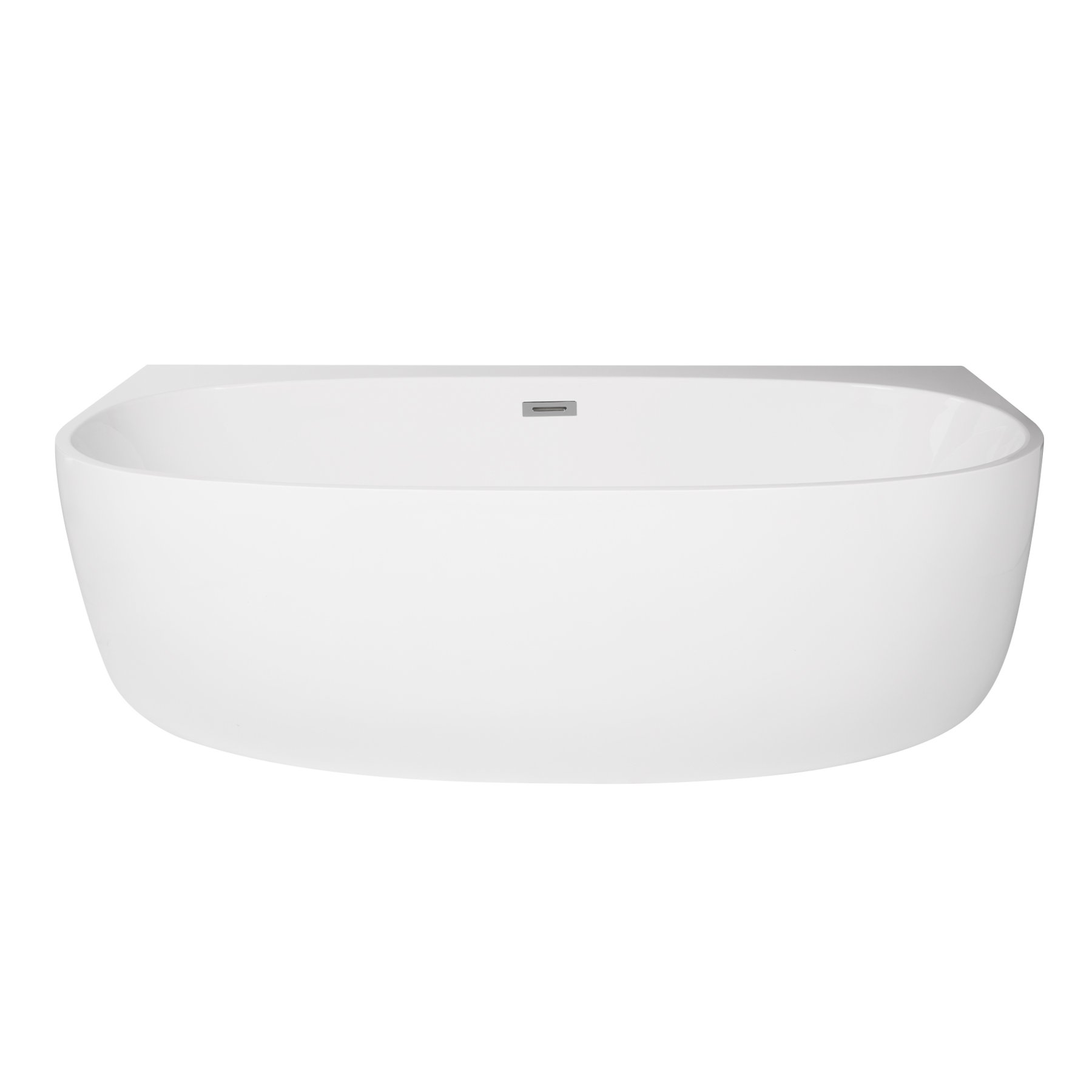 MAYKKE 59'' Ocala Acrylic Freestanding Alcove Tub | Modern Uniquely Shaped Bath Tub Soaker for Bathroom Lavatory, with Center Drain and Overflow | Rim Space for Accessories Storage | White, XDA1414101