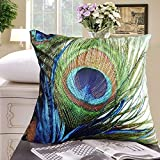 Fablegent® XH1 - Elegant Decorative Throw Pillow Cover - Peacock Feathers Design on Both Sides (20