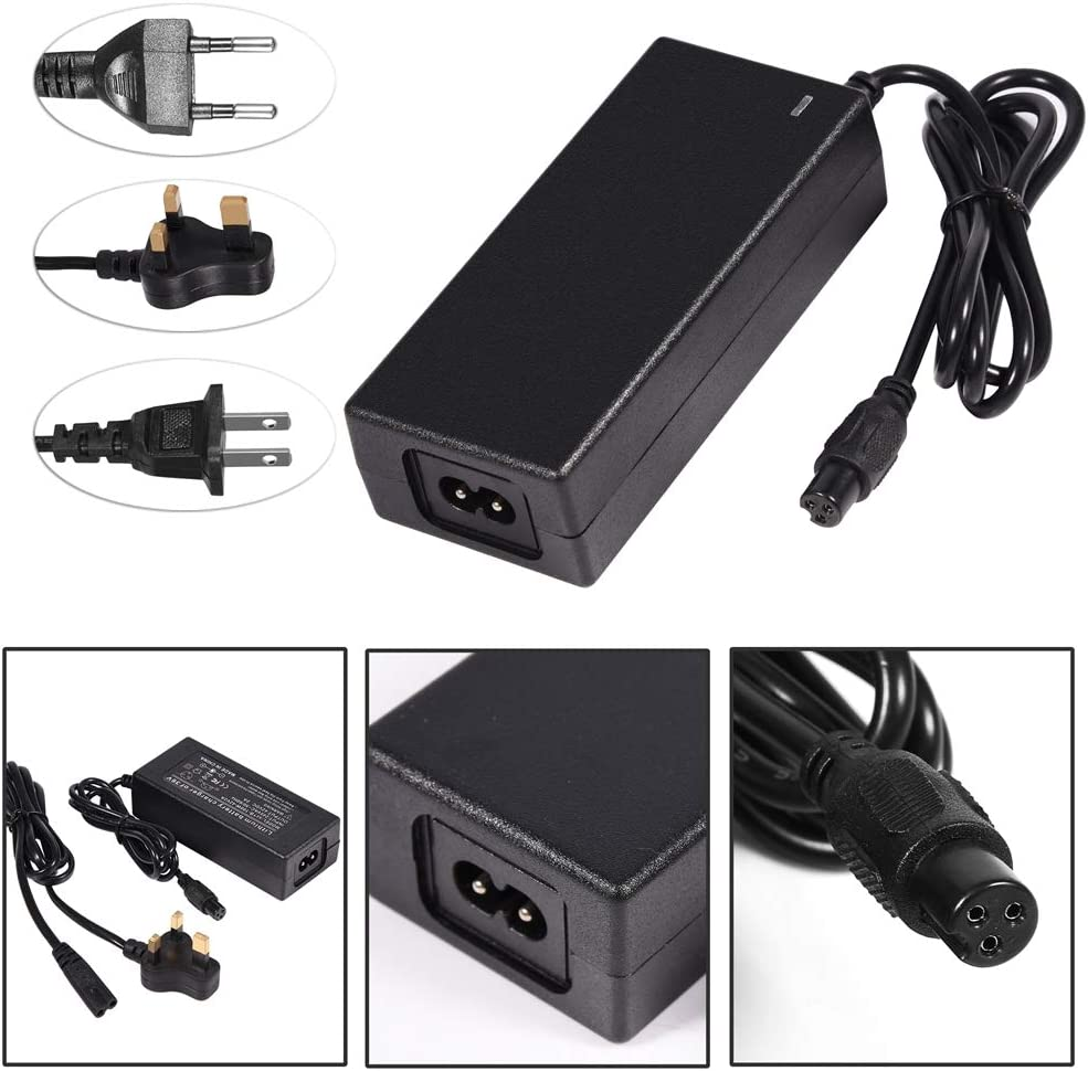 42V 2AUniversal Power Adapter SANON Power Supply Adaptor for Smart Electric Scooter Lithium Battery Safe Charger for Self Balancing Unicycle Skateboard Black
