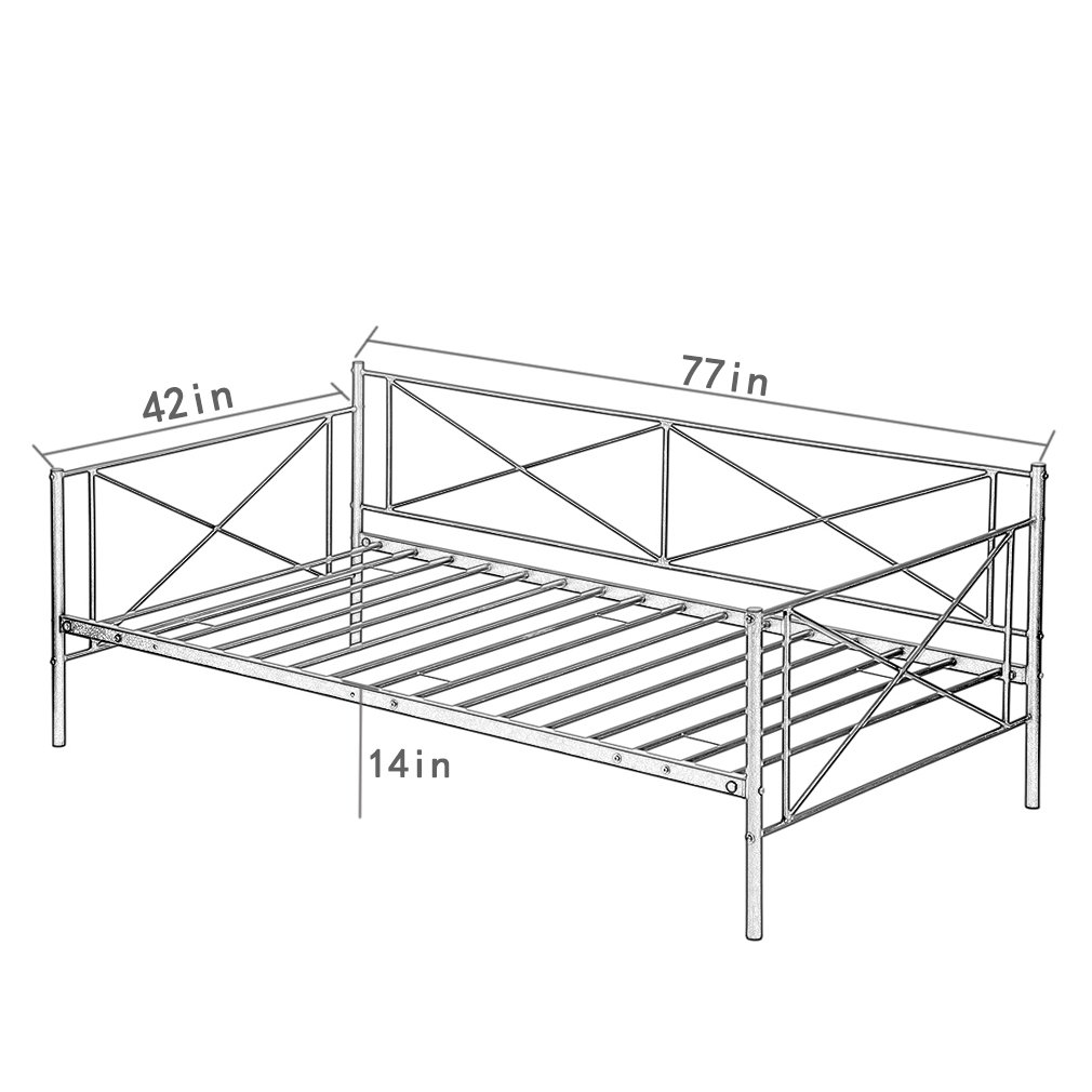 Daybed Metal Daybed Frame Twin with Steel Slats Bed Frame Box Spring Replacement
