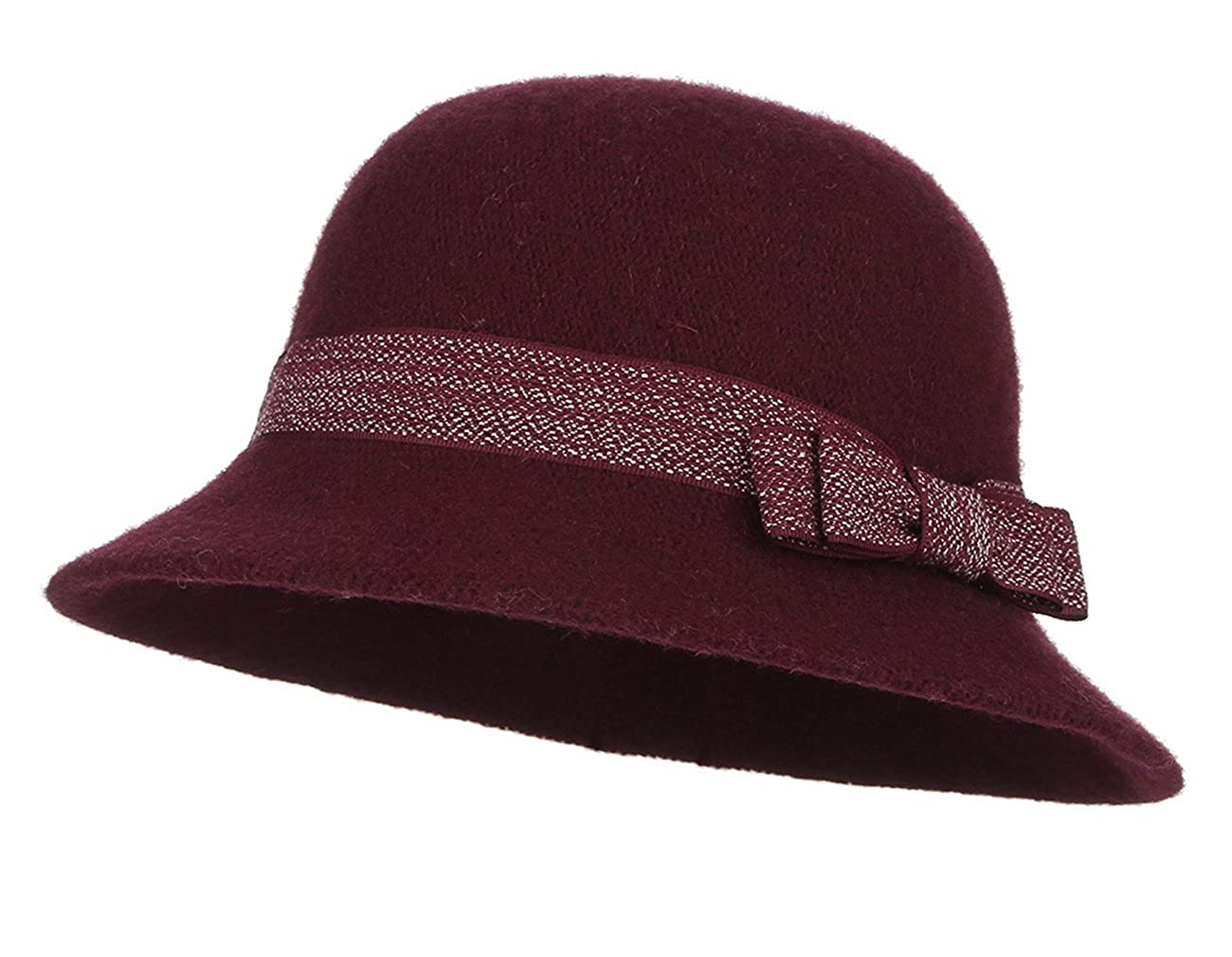 La Vogue Women's Wool Felt Cloche Hats Basin Cap Autumn Winter Ladies Derby Cloche Hat with Bowknot