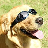 Mihachi Dog Sunglasses UV Protective Windproof Anti-fog Goggles for Pet Black