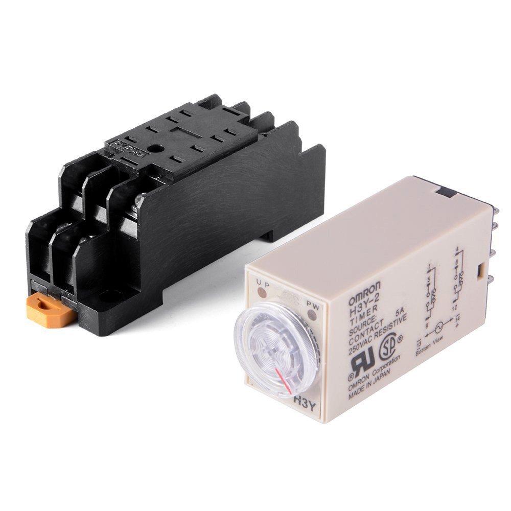 Woljay Relais temporis/é Relais temporis/é /à l/état solide 0-10 Minutes H3Y-2 AC 220V DPDT avec Socket Base