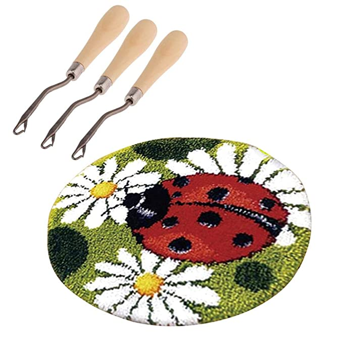 """DIY Ladybird /& Flower Latch Hook Rug Kit for Adults 19.6/"""" Embroidery Cushion"""