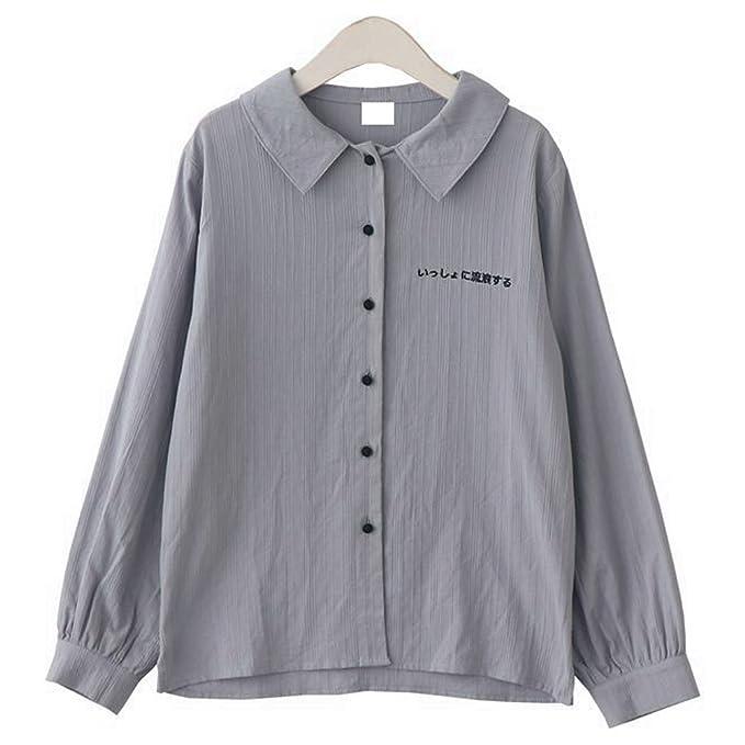 Packitcute Camisa de Bordado Japonesa Doll Collar Manga Larga Camisa de Blusa de Algodón Color Puro