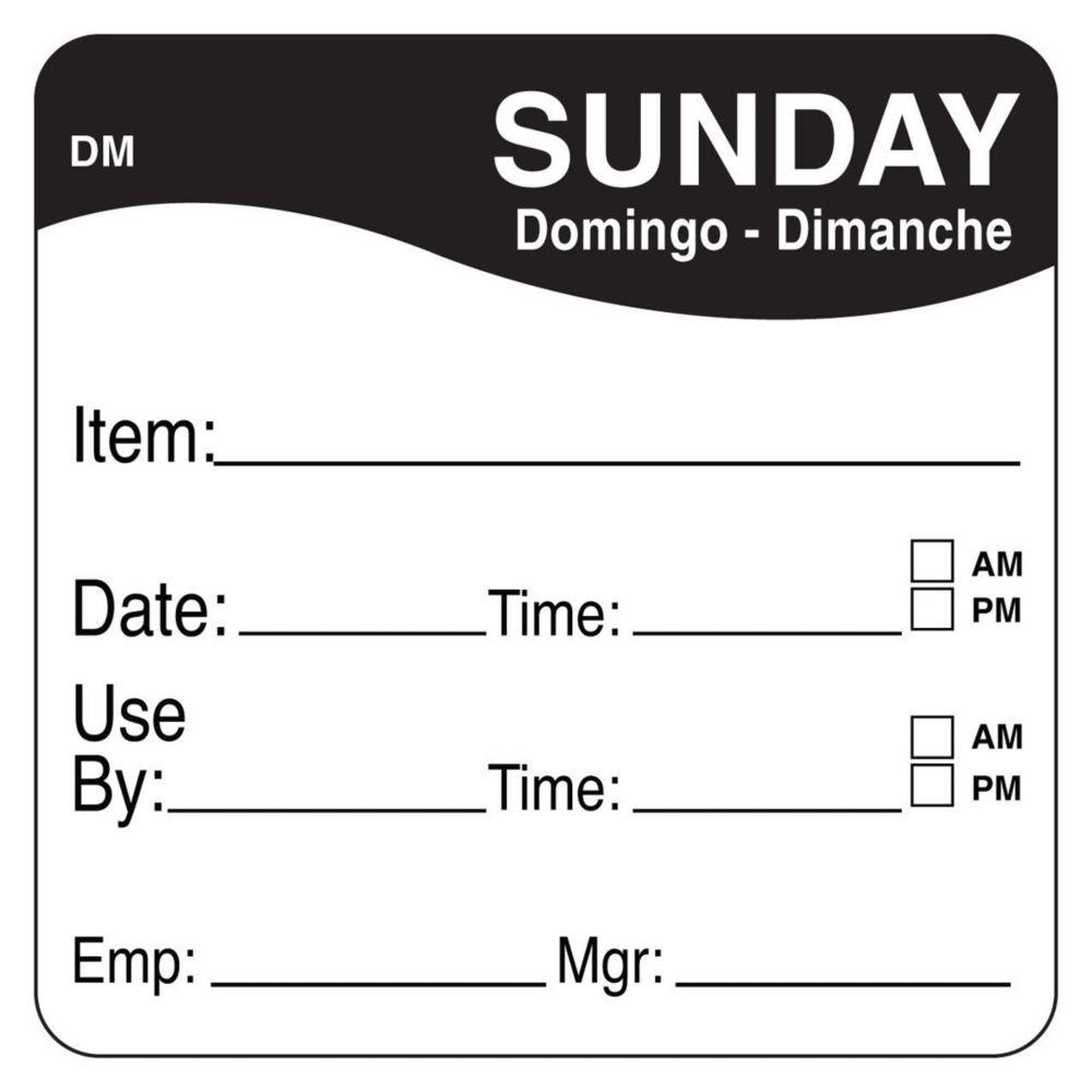 DayMark 1100537 DissolveMark 2'' Sunday Use By Day Square - 250 / RL
