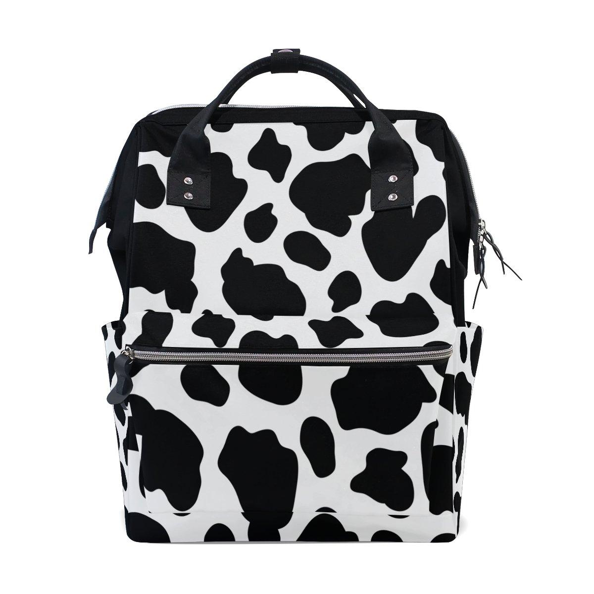 WOZO Cow Print Multi-function Diaper Bags Backpack Travel Bag