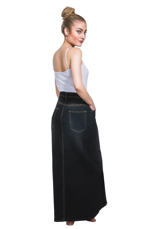 b42c337285 USKEES Fearne Long Denim Skirt - Black Front Split Maxi Skirt at Amazon  Women's Clothing store:
