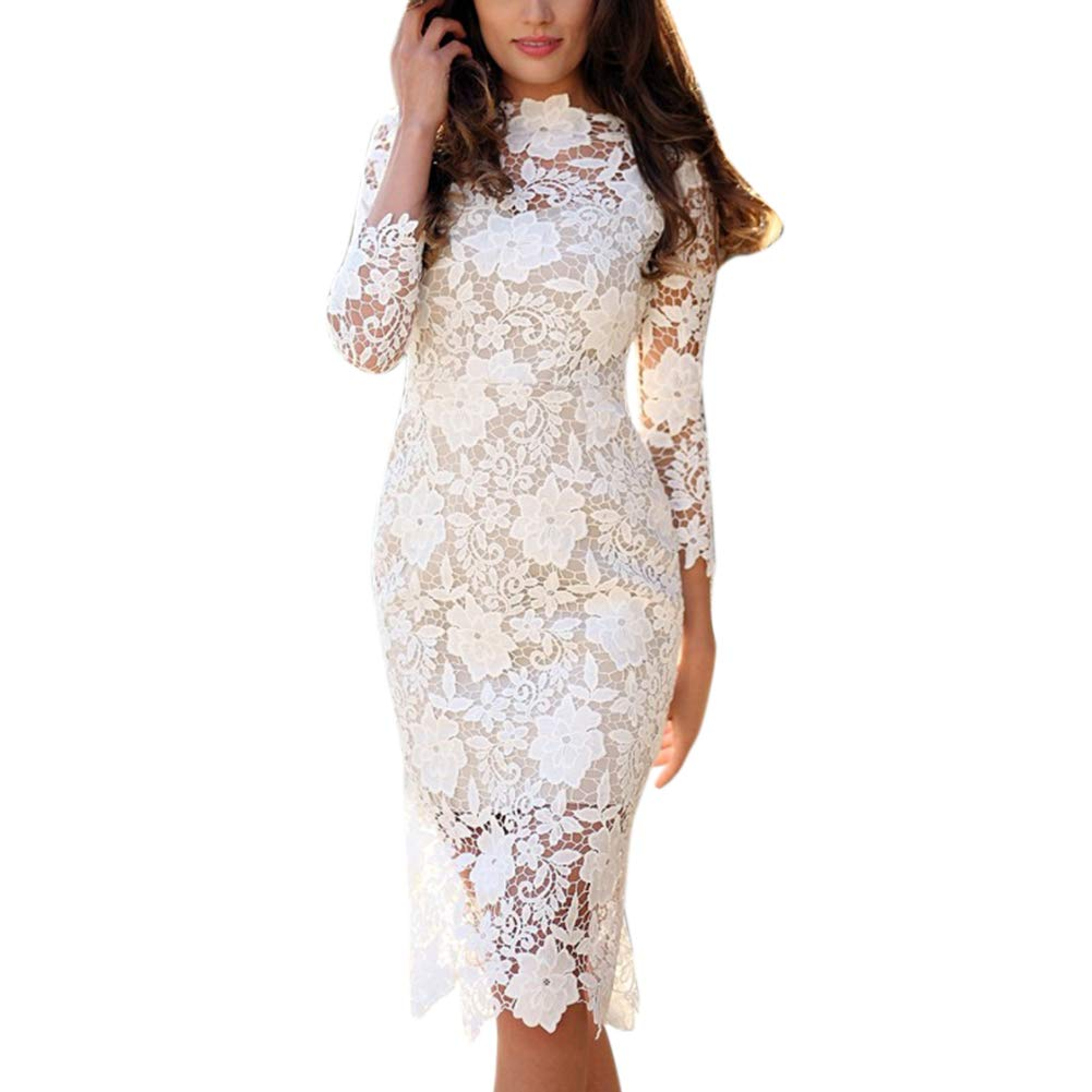 Buy Fidgetgear Women Slim Fit Lace Long Sleeve Pencil Dress Medium Waist Elegant Dress White M At Amazon In Designed to take you from day to night with ease, shop our edit now. buy fidgetgear women slim fit lace long