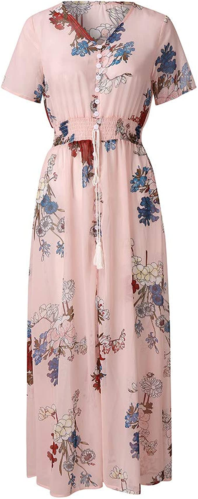 Cramberdy Damen Kleid Vintage Langarm Mittelalter Kleid Gothic