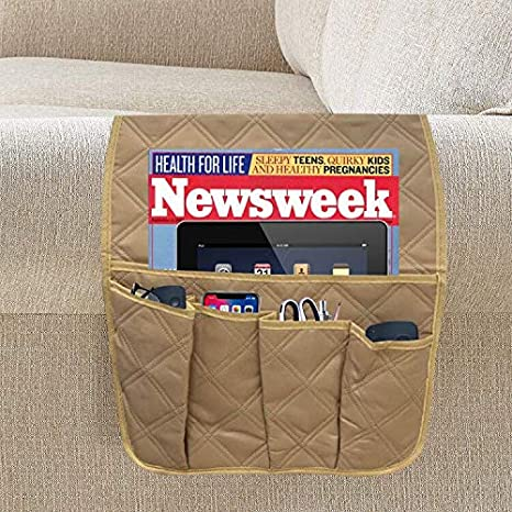 TV Remote Control Holder Ipad Magazines Cotton Linen, Beige Book Acutelien Sofa Armrest Organizer Non-Slip Couch Sofa Armrest Caddy Pocket Organizer for Phone