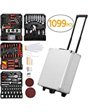 Yaheetech 1099pcs Aluminum Tool Set Case Mechanics Kit Box Organizer with Daily Tools and Wheels Tool Kit