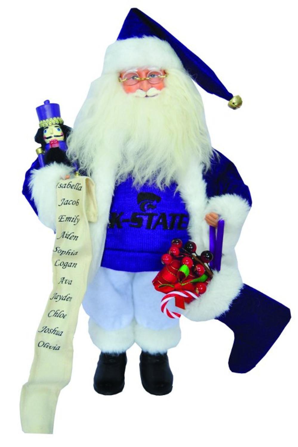 15'' NCAA Kansas State Wildcats Santa Claus Christmas Figure with Nutcracker