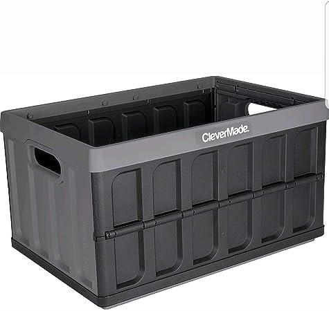 CleverMade 8031843-153 - Caja de almacenamiento, contenedor de plástico de 46 litros, plegable y apilable, color gris: Amazon.es: Bricolaje y herramientas